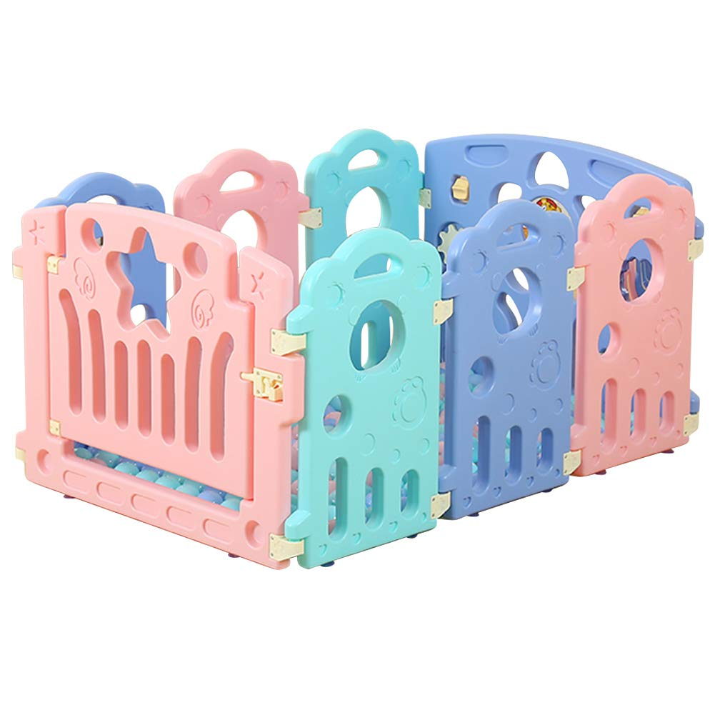 Fivtyily Foldable Baby Playpen Safety Activity Games Center Multicolor for Home Indoor Outdoor (8 Panel)