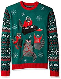 Blizzard Bay Mens Raccoon Party Ugly Christmas Sweater Sweater
