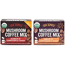 Four Sigmatic Mushroom Coffee - 2 Pack Variety with Cordyceps & Chaga and Lion's Mane & Chaga (2 Boxes, 10 Packets Each)