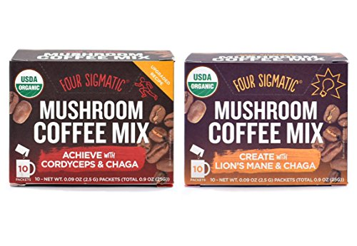 Four Sigmatic Mushroom Coffee Mix Pack of 2 - Lion's Mane and Chaga & Cordyceps and Chaga by Four Sigmatic