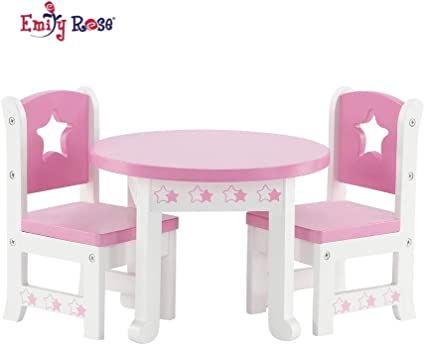 "18/"" White Real Wood Toys 18 Inch Doll Furniture Wooden Table and Chairs Set"