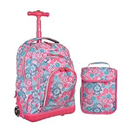 J World New York Lollipop Kids' Rolling Backpack with Lunch Bag 51 Lunch bag included ; Handle Type: Comfort-grip Handle, Adjustable strap, Retractable Handle, Padded Handle ;  Exterior Features: Front Pouch, Organizer Pocket, Mesh Pocket Soft and noiseless wheels with magnetic self-lighting system Air mesh cushioned padded shoulder strap and back with slip-in system