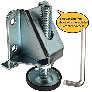 Heavy Duty Leveler Legs w/ Lock Nuts - 8,000 Lb. Capacity Leveling Feet for Furniture, Cabinets, & Workbench - 4 Pack