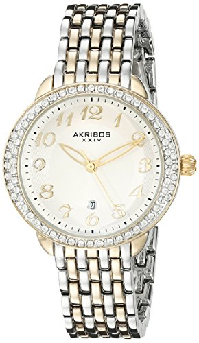 Akribos XXIV Women's AK831TTG Quartz Movement Watch with Silver Dial Featuring a Crystal Filled Bezel and Two Tone Bracelet
