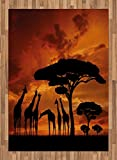 Africa Area Rug by Lunarable, Safari Animal with Giraffe Crew with Majestic Tree at Sunrise in Kenya, Flat Woven Accent Rug for Living Room Bedroom Dining Room, 5.2 x 7.5 FT, Burnt Orange and Black