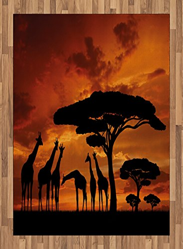 Africa Area Rug by Lunarable, Safari Animal with Giraffe Crew with Majestic Tree at Sunrise in Kenya, Flat Woven Accent Rug for Living Room Bedroom Dining Room, 5.2 x 7.5 FT, Burnt Orange and Black by Lunarable