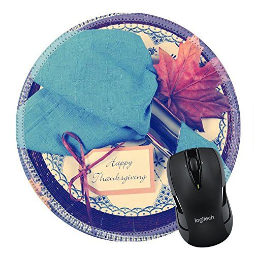 ousepad Round Mouse Pad/Mat: 32340026 Vintage style Happy Thanksgiving dining table place setting with vintage plate and dark blue napkin with turkey tureen on dark blue cheeseclo (Round Tureen)