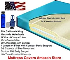 This California King size 90% waveless waterbed mattress is very popular due to how comfortable it is. It has 5-6 seconds of movement with contour back support. The four Layers of super soft 2 oz. Resin Bonded Fiber is Specially engineered fo...