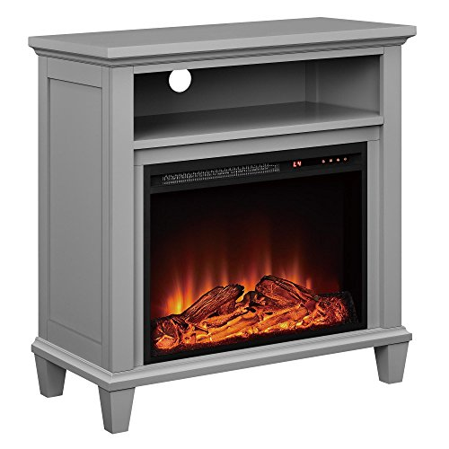 Ameriwood Home Ellington Electric Fireplace Accent Table TV Stand for TVs up to 32 , Gray
