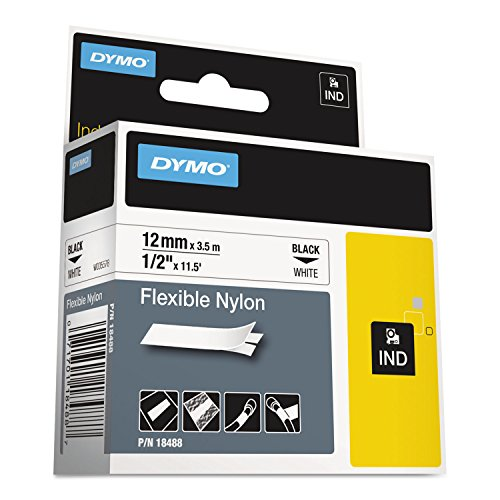DYMO 18488 Rhino Flexible Nylon Industrial Label Tape, 1/2