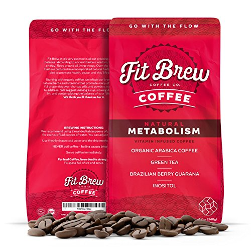 Fit Brew | Vitamin Infused Coffee | Ground Organic | Essential Vitamins, Plant Extracts & Immunity Boosters | 12 oz. bag (Metabolism)