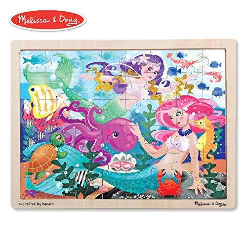 (Melissa & Doug Mermaid Fantasea Wooden Jigsaw Puzzle, Preschool, Sturdy Wooden Construction, 48 Pieces, 15.7