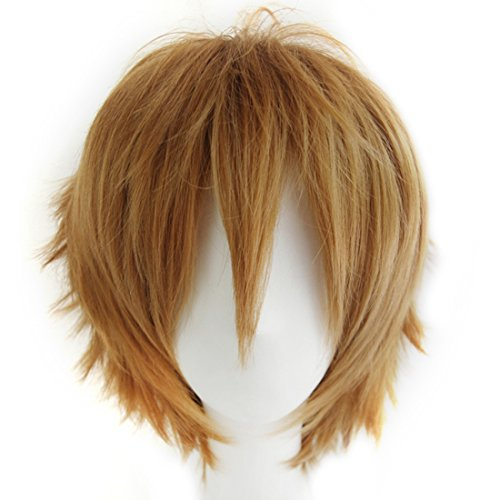 Alacos Women Men Cosplay Short Straight Hair Wig Anime Party Cool Costume Dress Wigs Light Brown Wig+ Free Wig Cap -