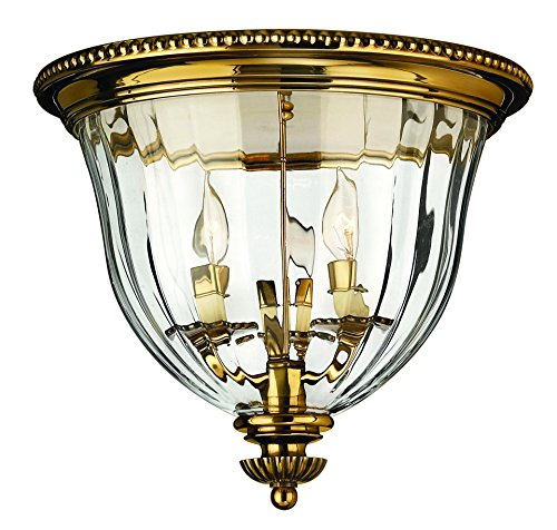 Hinkley Brass Light Fixture (Hinkley 3612BB Traditional Three Light Flush Mount from Cambridge collection in Brassfinish,)