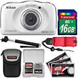Nikon Coolpix W100 Wi-Fi Shock & Waterproof Digital Camera (White) with 16GB Card + Case + Selfie Stick + Float Strap + Kit