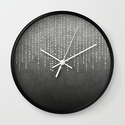Society6 Silver Glamour Faux Glitter On Grey Texture Wall Clock Black Frame, White Hands