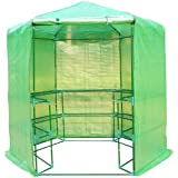 Outsunny Portable 3-Tier Shelf Hexagonal Walk In Greenhouse, 7.5-Feet