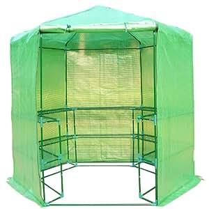 Outsunny 7,5'portátil 3Tier estante Hexagonal caminar en invernadero