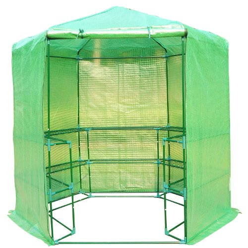 Outsunny Portable 3-Tier Shelf Hexagonal Walk In Greenhouse, 7.5-Feet (Outdoor Mil Furniture Green)