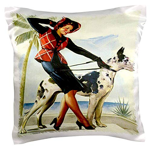 Akhy Print of Elvgren Pinup Plays While Dog Sings Pillow ...