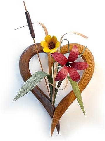 Wood Wildflowers Heart-Shaped Vase Wall Arrangement, American Made Woodwork