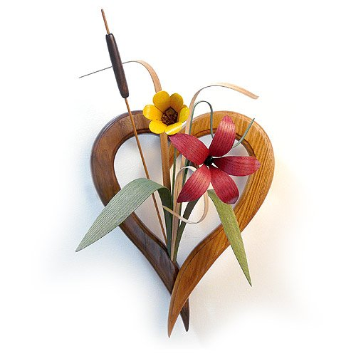 Wood Wildflowers Heart-Shaped Vase Wall Arrangement, American Made Woodwork