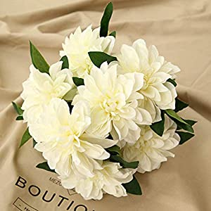 Homyu 10 Heads Dahlia Fake Flowers Artificial Dahlia Flowers Faux Flowers for Home Wedding Party Office Supplies (White)
