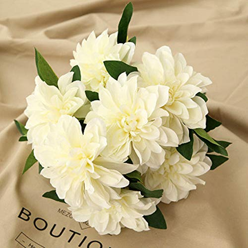 Homyu 10 Heads Dahlia Fake Flowers Artificial Dahlia Flowers Faux Flowers for Home Wedding Party Office Supplies (White)