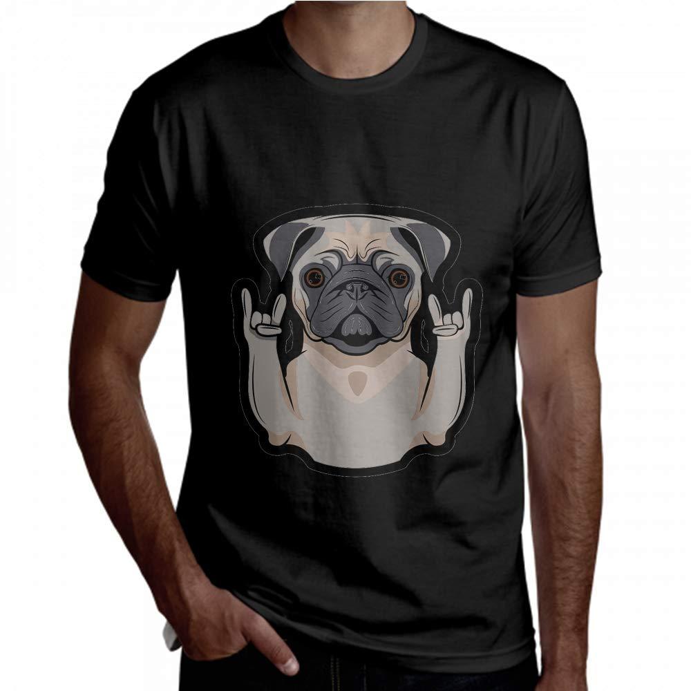 T-Shirt Rock Gesture Rap Funny Dog Short Sleeve Men Short Sleeve T Shirt