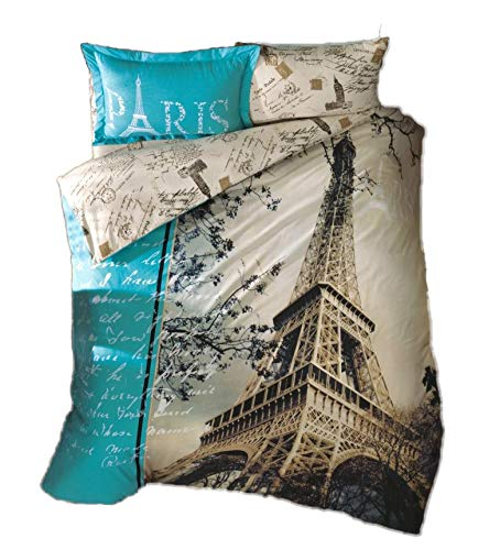 Price comparison product image Gold Case Paris Series Comforter Cover Set - 3D Paris in Love - The only Real Twin Size - Made in Turkey - 100% Cotton/Ranforce / 4 Pieces - Original Item