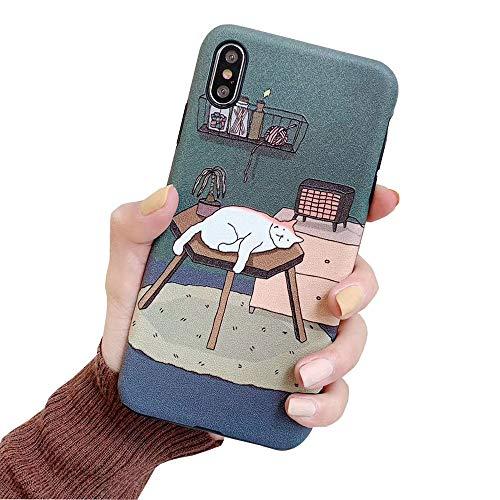 ICI-Rencontrer Super Creative 3D Basso-Relievo Embossed Art Cat Girl Pattern iPhone X Case Flexible TPU Cover Shockproff Anti-Scratch Anti-Finger Case (iPhone X, Sleeping Cat)