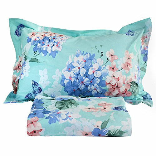 FADFAY 4-Piece Hydrangea Floral Blue and Pink Butterfly Bed Sheet Set Cotton Bed Sheets,Cal. King