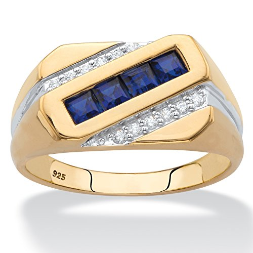 Men's 18K Yellow Gold over Sterling Silver Square Cut Blue Sapphire and Diamond Accent Ring Size - Mens Diamond Band Channel