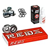 Bones Super Reds Bearings, 8 Pack Set with Spacers, Speed Rings, and Speed Cream