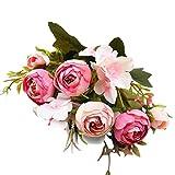 Artificial Flowers,Longay 1 Bouquet Vintage Artificial Peony Silk Flowers Bouquet for Decoration (Hot Pink)