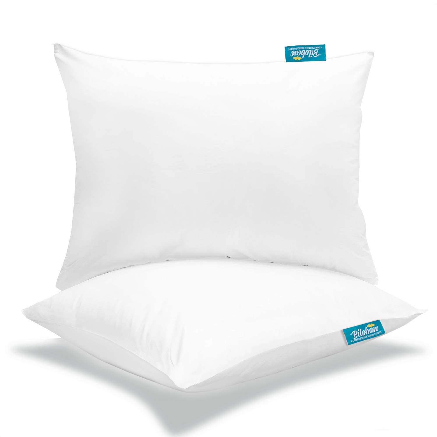 Toddler Pillow with Pillowcase 2 Pack, Kids Pillow for Sleeping with Comfortable and Soft Pillowcase for Travel, Crib and Toddler Bed - White by Biloban