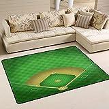XiangHeFu Area Rugs Doormats Baseball Field Soft Carpet Mat 6'x4' (72x48 Inches) for Living Dining Dorm Room Bedroom Home Decorative