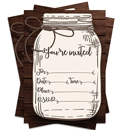 (25 Rustic Country Mason Jar You're Invited 5x7 Printed Party Invitations with Envelopes )