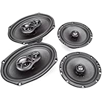 Skar Audio 6x9 300W 3 Way Coaxial and 6.5 200W Car Audio Speakers System - 4 Speakers