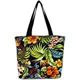 Cheap Island Impressions Small Classic Tote Tropical Floral Green, Orange, Black One Size