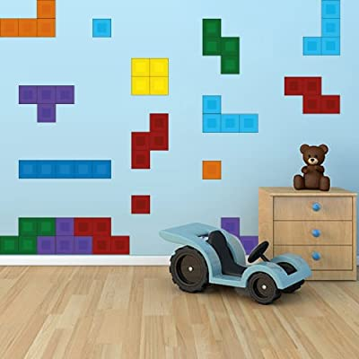 Full Color Wall Decal Tetris Art Stickers Video Game Decals Kids Room 24 Tetris Pieces Mcol42: Home & Kitchen