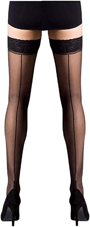 Selection of Colours Seamed Lace Top Hold Ups with Silicone Bands