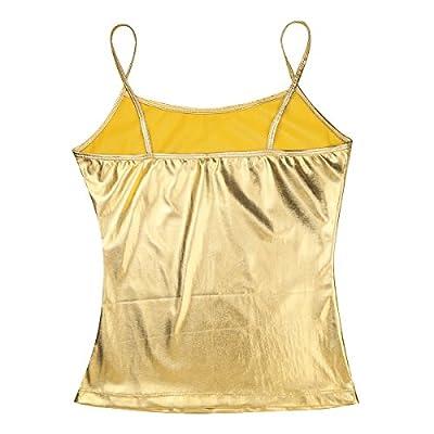 iiniim Women's Metallic Camisole Basic Solid Vest Strappy Spaghetti Cami Party Tank Top