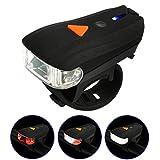 Bike Light DEESEE(TM) Waterproof USB Rechargeable Mountain Bike Bicycle LED Head Front Light & Rear Tail Lamp Set (Black)