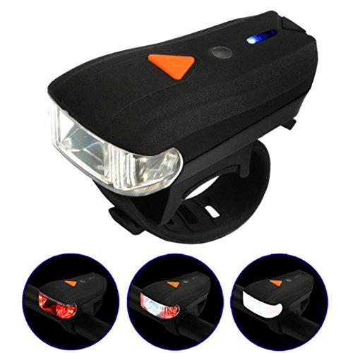 Bike Light DEESEE(TM) Waterproof USB Rechargeable Mountain Bike Bicycle LED Head Front Light & Rear Tail Lamp Set (Black) by DEESEE(TM)