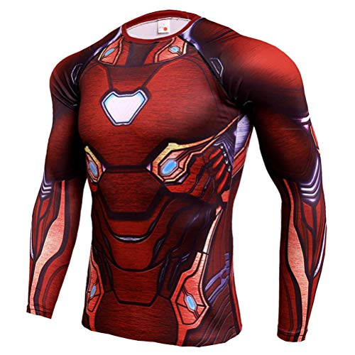 Cool Mens Dri-Fit Ironman Compression Athletic Shirt Red Costume Shirt S -