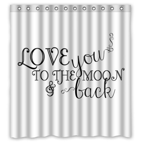 Family Home Home&Family Stylish Living Elegant Funny Saying & Quotes: I Love You to the Moon and Back Bathroom Shower Curtain with Hooks 66 x 72 by Family Home
