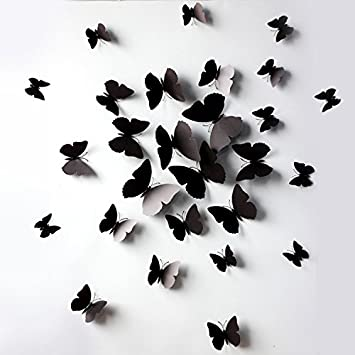 Sangu 3d Black Butterfly Removable Mural Wall Stickers Wall Decal For Home Decor Black