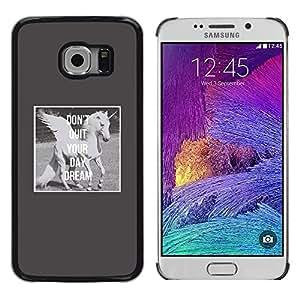 iKiki Tech / Estuche rígido - Unicorn Daydream Grey Wings Horse - Samsung Galaxy S6 EDGE SM-G925