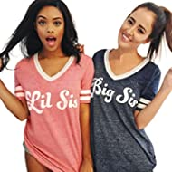 Perman Sisters Blouse, Summer Casual Big Sis Print Short Sleeve V-Neck Cotton Loose T-Shirt